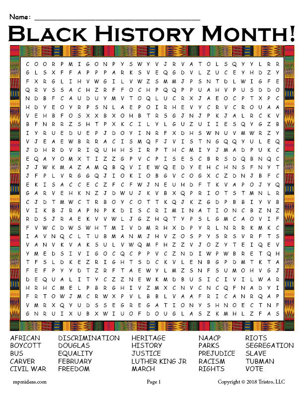 image regarding Black History Crossword Puzzle Printable called Totally free Printable Black Record Thirty day period Term Look! SupplyMe